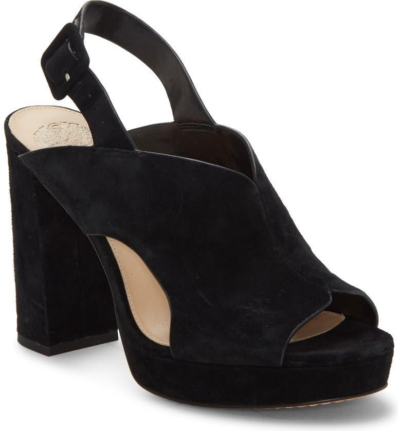 VINCE CAMUTO Jeangel Platform Sandal, Main, color, BLACK SUEDE