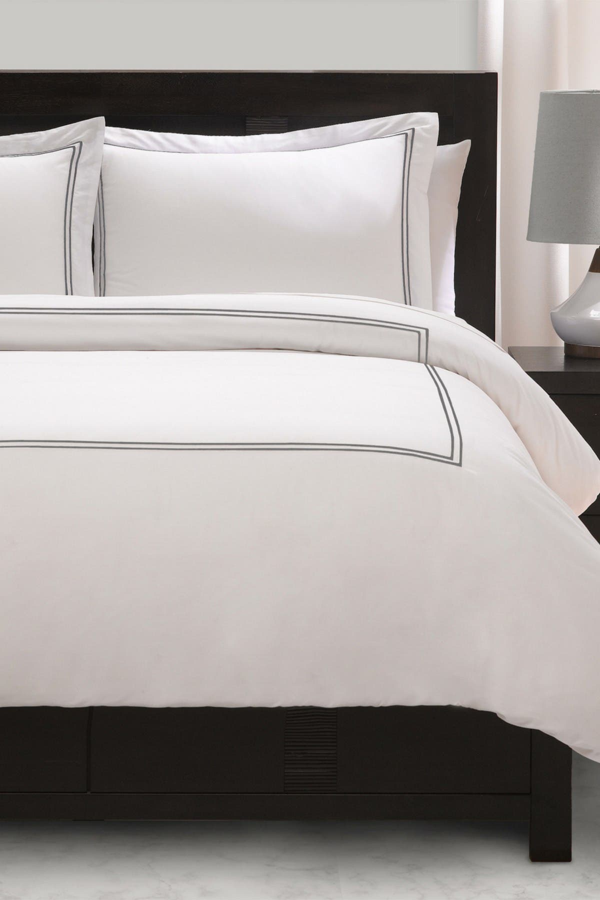 Image of Ella Jayne Satin Stitched Percale Duvet Cover Set - King/Cal King - Silver