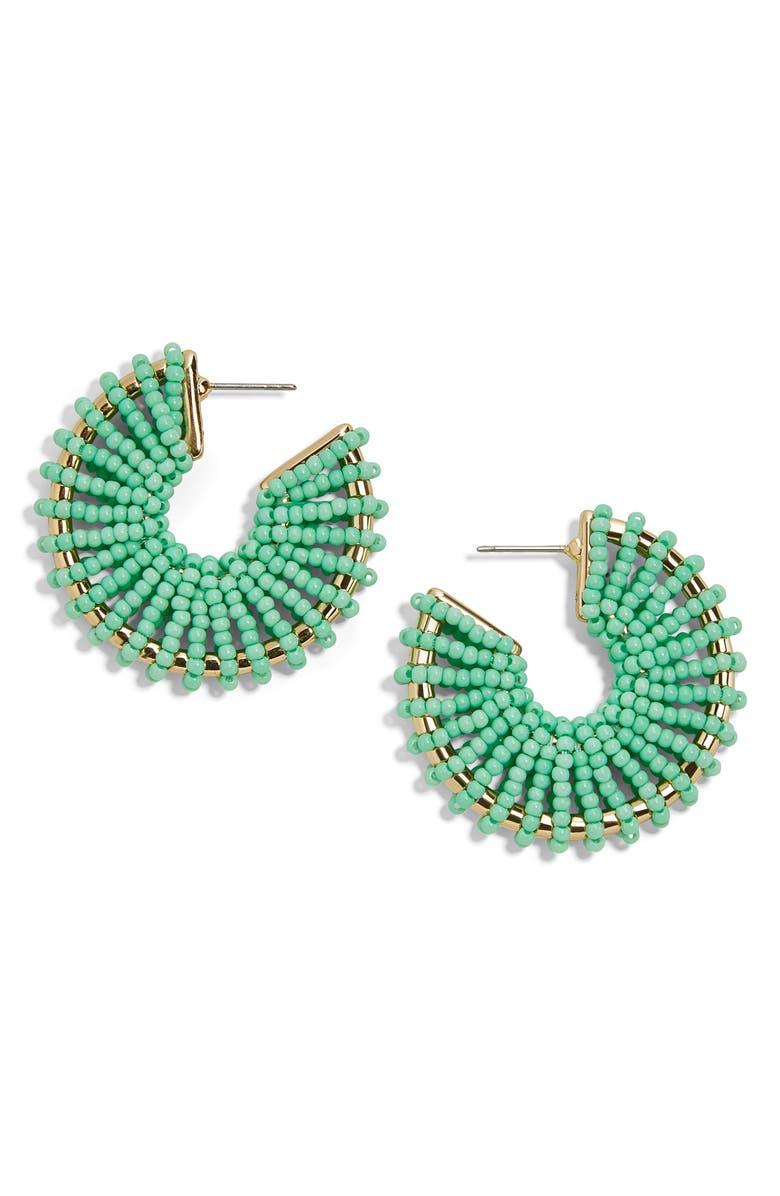 BAUBLEBAR Giana Beaded Hoop Earrings, Main, color, MINT