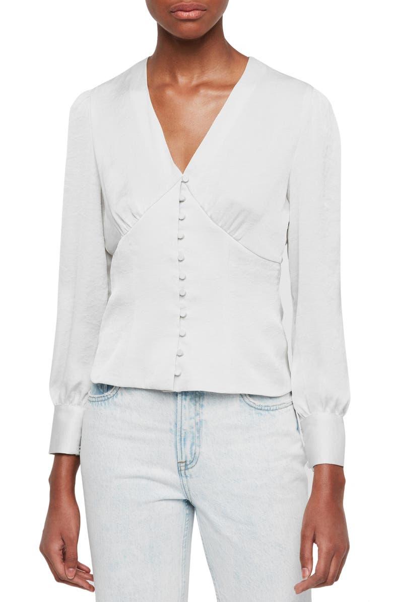 ALLSAINTS Amalie Satin Top, Main, color, ICE WHITE