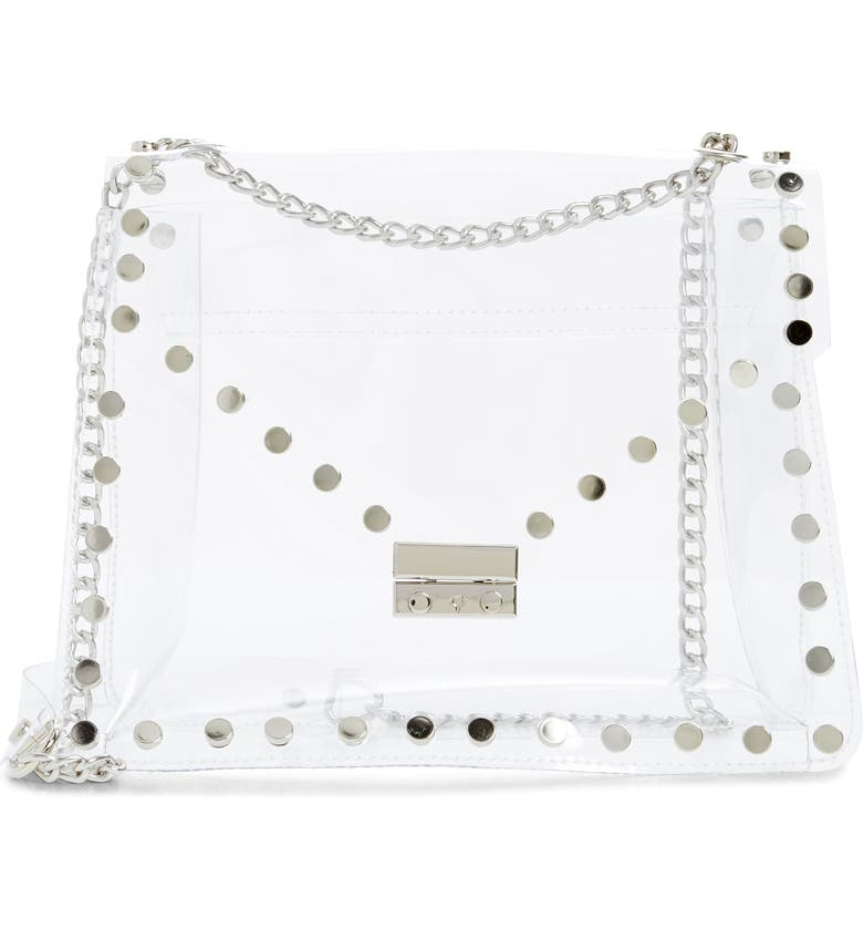 KNOTTY Studded Clear Shoulder Bag, Main, color, CLEAR