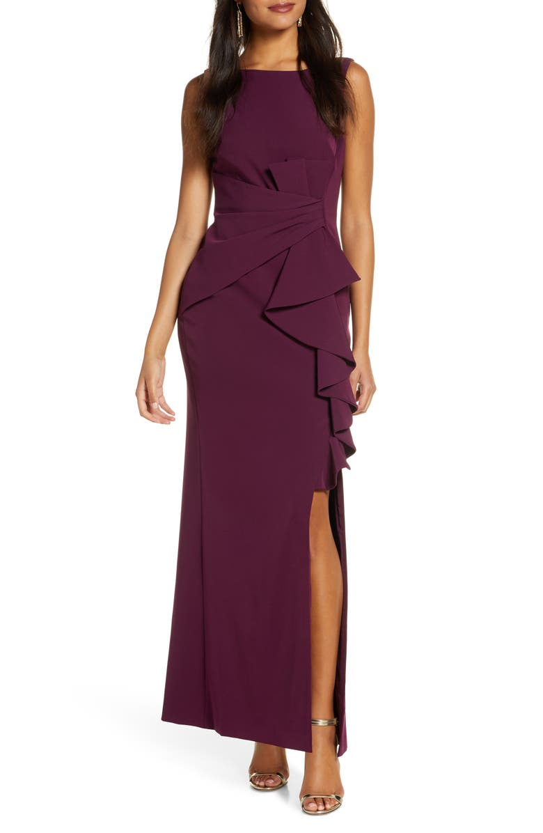 ELIZA J Ruffle Front Gown, Main, color, WINE
