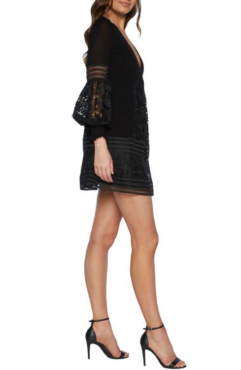 f8088334e4c4 Bardot Mariah Long Sleeve Swiss Dot & Lace Babydoll Dress   Nordstrom