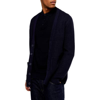 Topman Rack Textured Cardigan Sweater, Blue