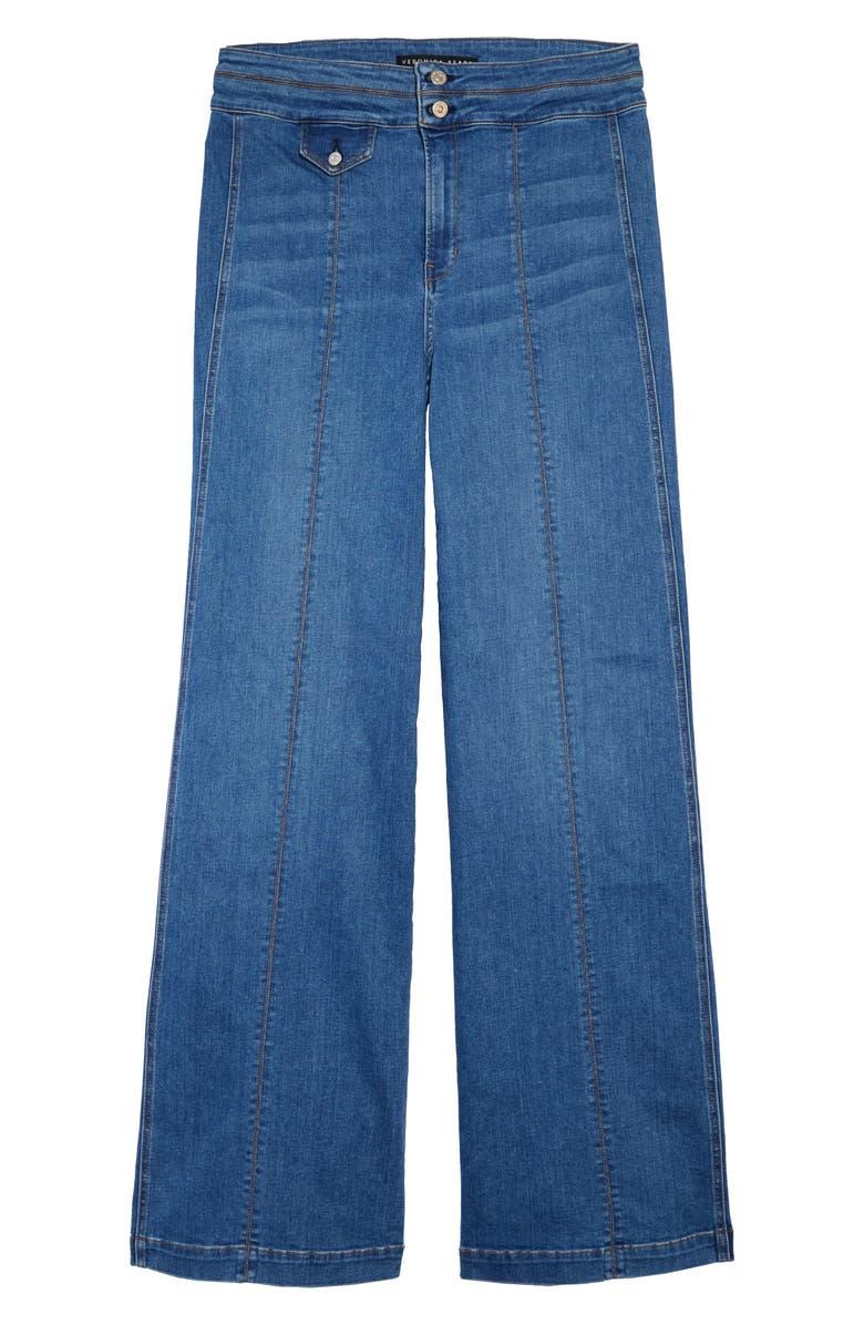 VERONICA BEARD Ember Seam Detail High Waist Wide Leg Jeans, Main, color, POWDERED OCEAN