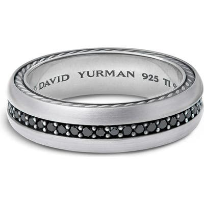 David Yurman Streamline Titanium & Black Diamond Pave Band Ring
