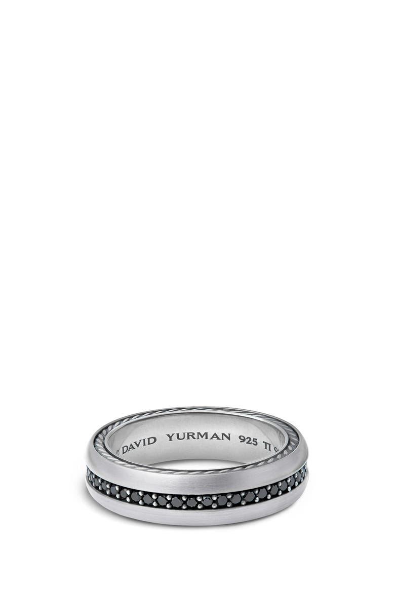 DAVID YURMAN Streamline Titanium & Black Diamond Pavé Band Ring, Main, color, DIAMOND/ TITANIUM/ SILVER