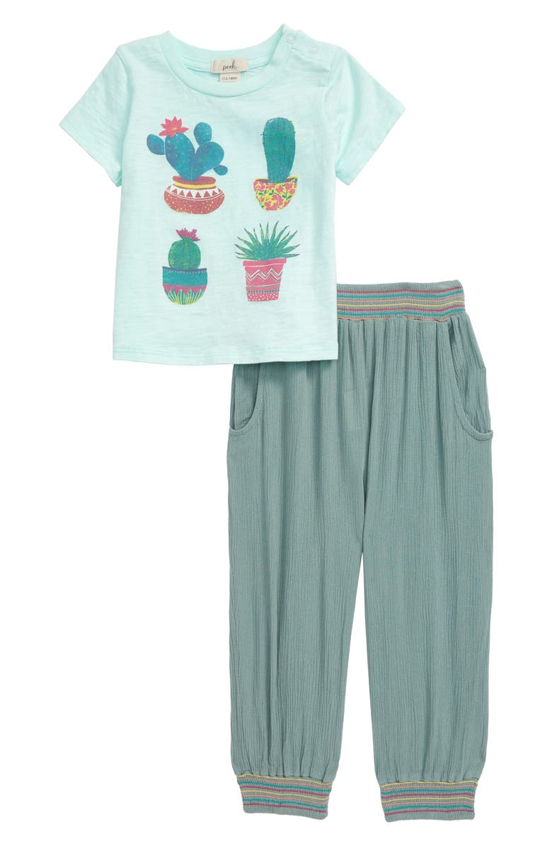 PEEK ESSENTIALS Cacti Maya Graphic Tee & Pants Set, Main, color, LIGHT GREEN