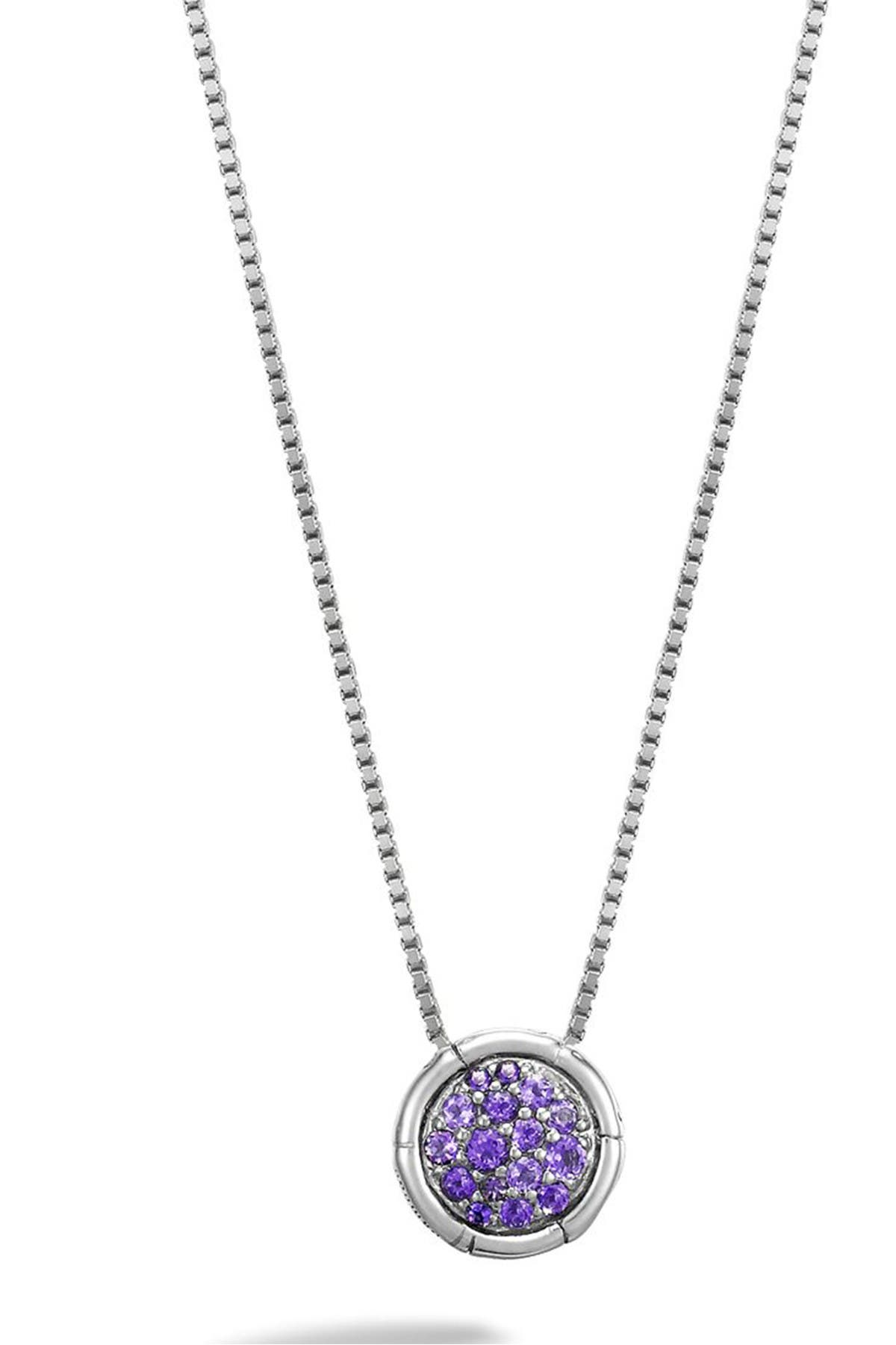 Amethyst Circle Necklace Sterling Silver