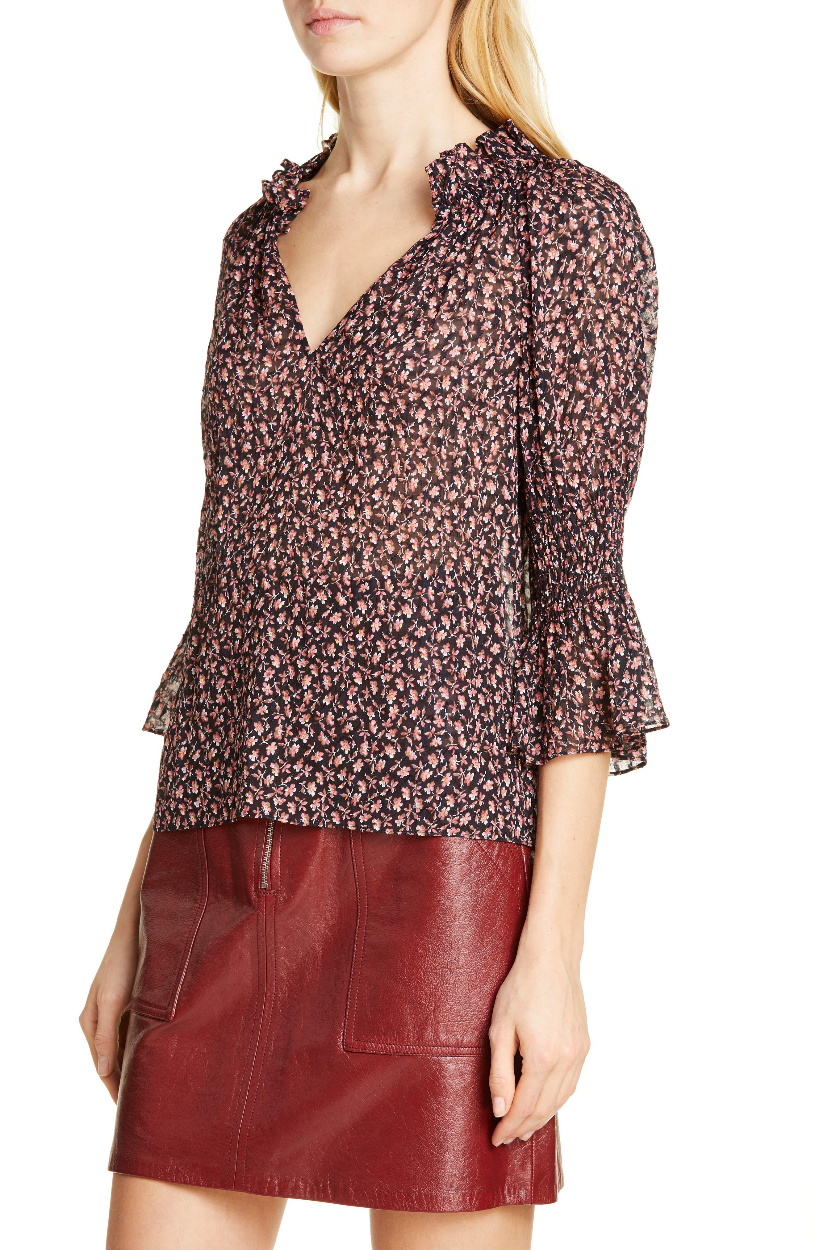 ,                             Floral Ruffle Detail Silk & Cotton Blouse,                             Alternate thumbnail 4, color,                             NAVY COMBO