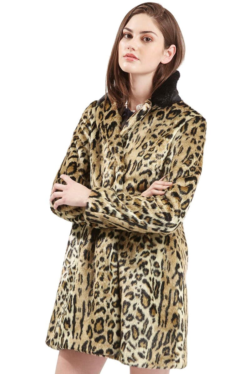 TOPSHOP Leopard Print Faux Fur Swing Coat, Main, color, 200