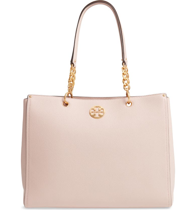 TORY BURCH Everly Leather Tote, Main, color, SHELL PINK