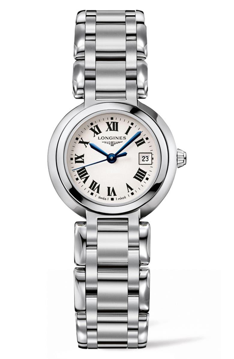LONGINES PrimaLuna Bracelet Watch, 26.5mm, Main, color, SILVER