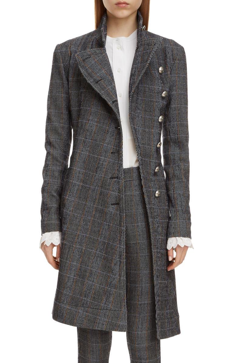 CHLOÉ Plaid Stretch Wool Longline Jacket, Main, color, 020