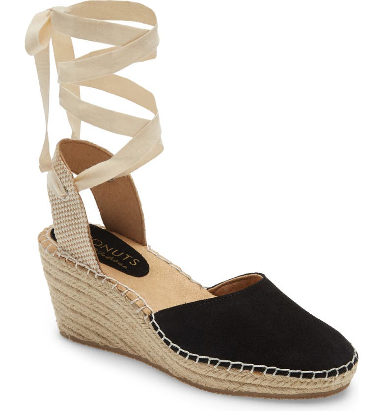 COCONUTS BY MATISSE Firefly Lace-Up Wedge Sandal, Main, color, BLACK SUEDE