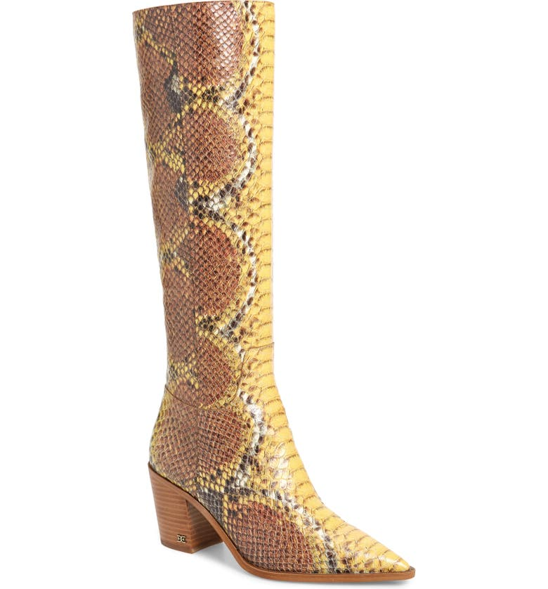 SAM EDELMAN Lindsey Pointed Toe Knee High Boot, Main, color, YELLOW MULTI LEATHER