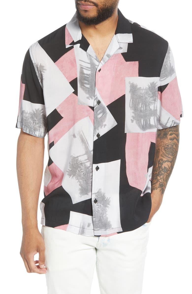 ALLSAINTS Livinston Patterned Short Sleeve Button-Up Camp Shirt, Main, color, JET BLACK