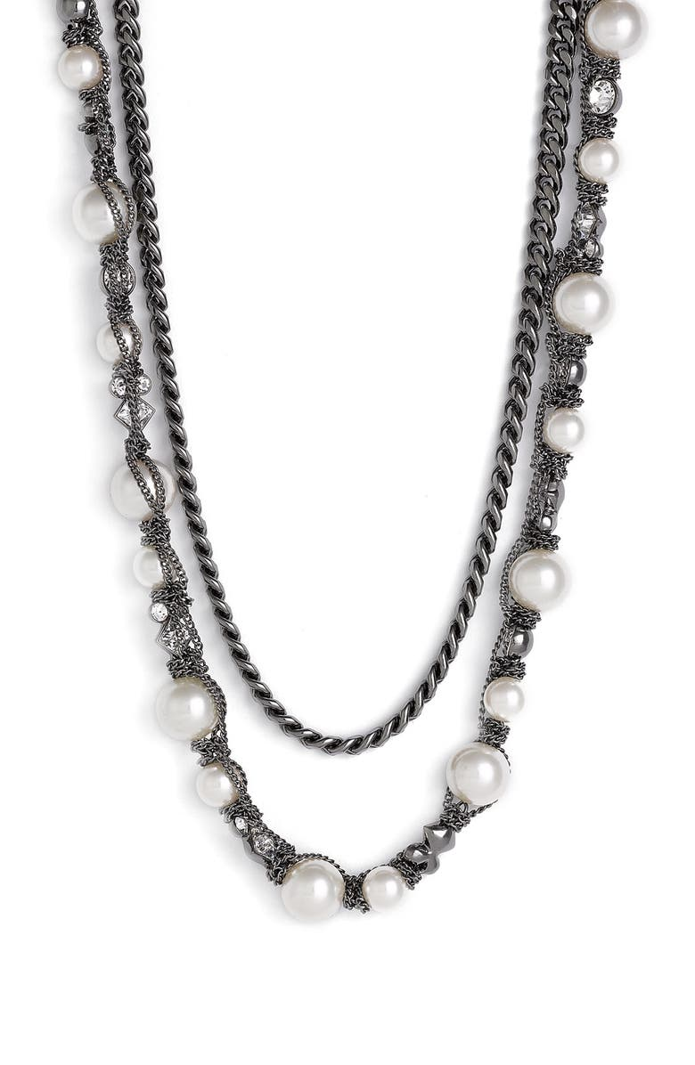 GIVENCHY Faux Pearl & Chain Necklace, Main, color, 020