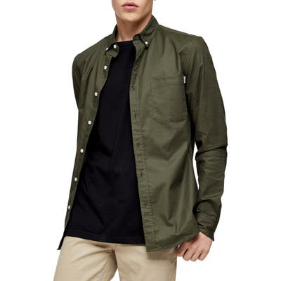 Topman Skinny Fit Button-Down Oxford Shirt, Green
