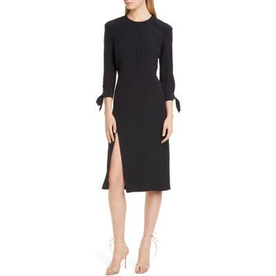 Etro Side Slit Leaf Cloque Silk Dress, US / 46 IT - Black