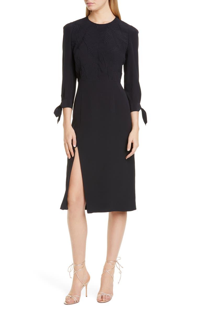ETRO Side Slit Leaf Cloqué Silk Dress, Main, color, BLACK