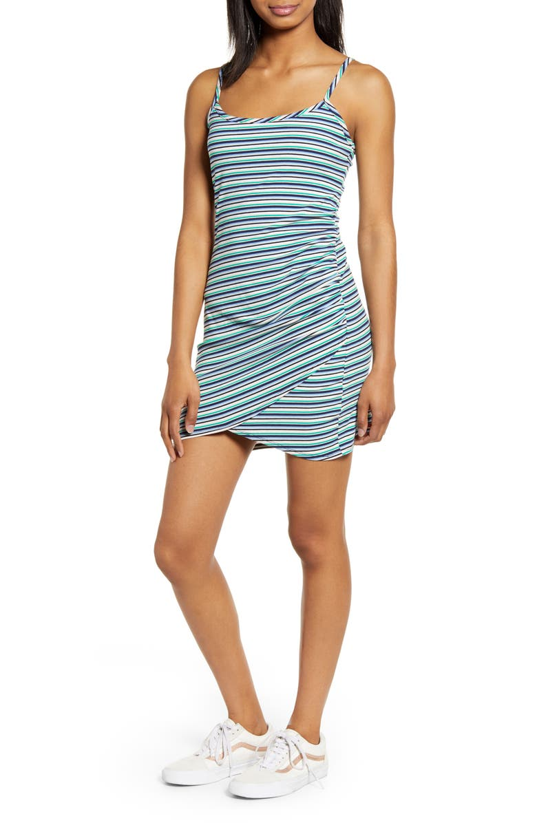 LOVE, FIRE Side Ruched Camisole Dress, Main, color, MULTI STRIPE