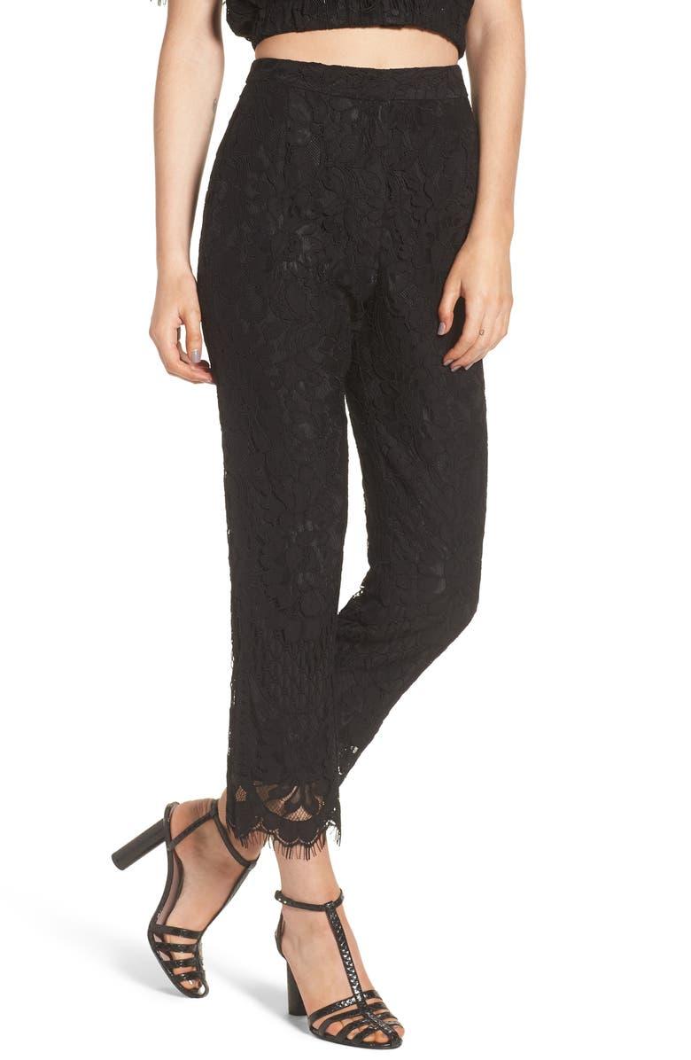WAYF Rennes High Waist Crop Lace Pants, Main, color, 001
