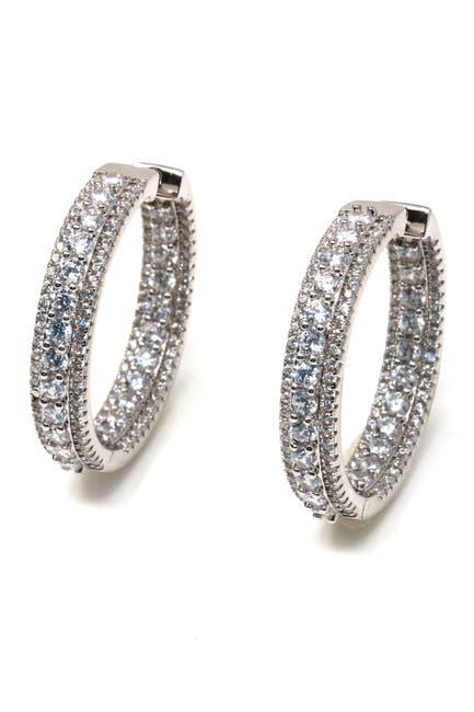 Image of Suzy Levian Cubic Zirconia Pave Hoop Earrings