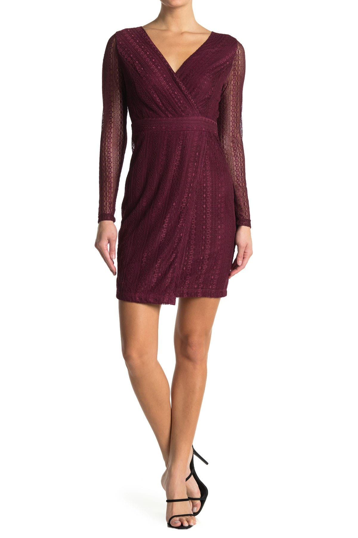 Image of GUESS Sheer Sleeve Lace Dress