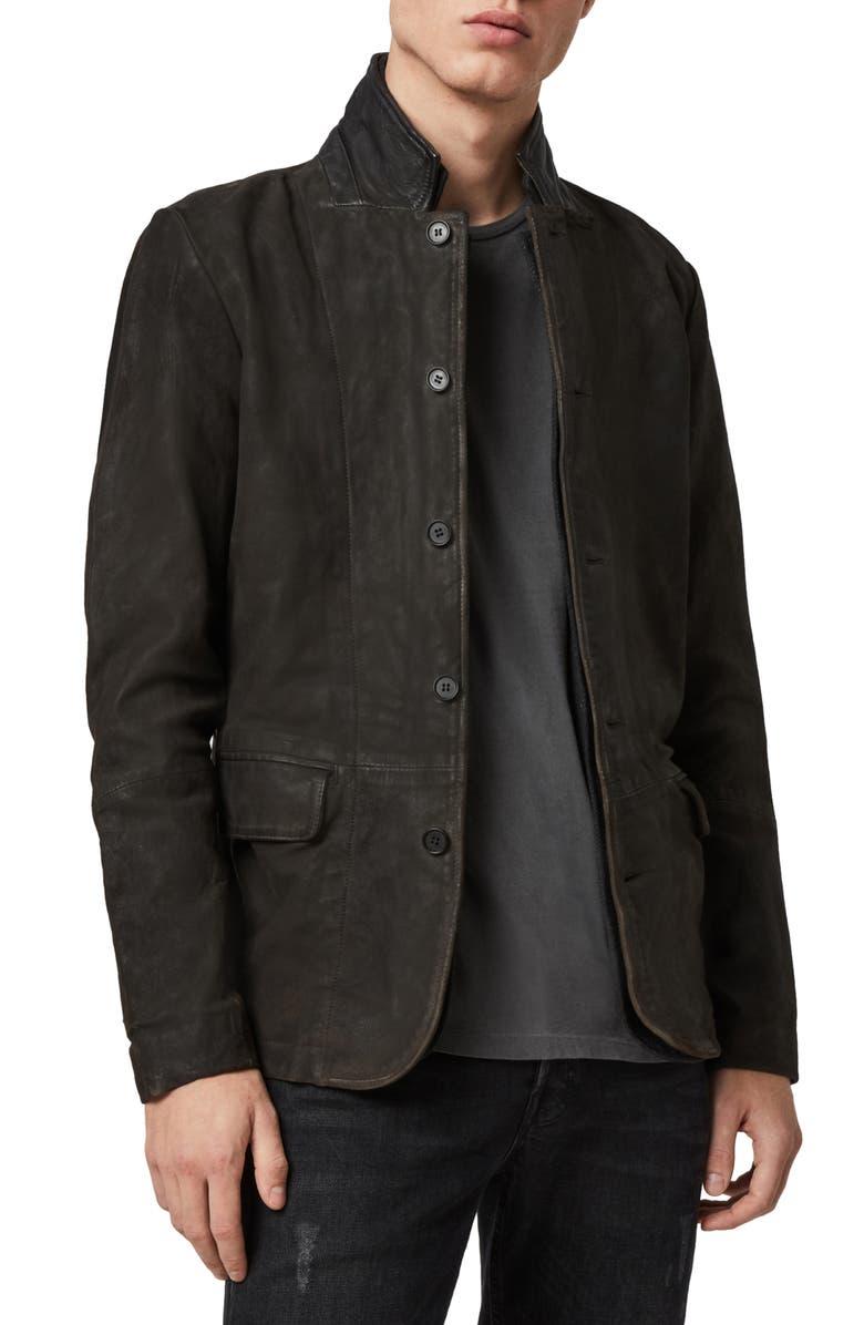 ALLSAINTS Survey Slim Fit Leather Blazer, Main, color, ANTHRACITE GREY