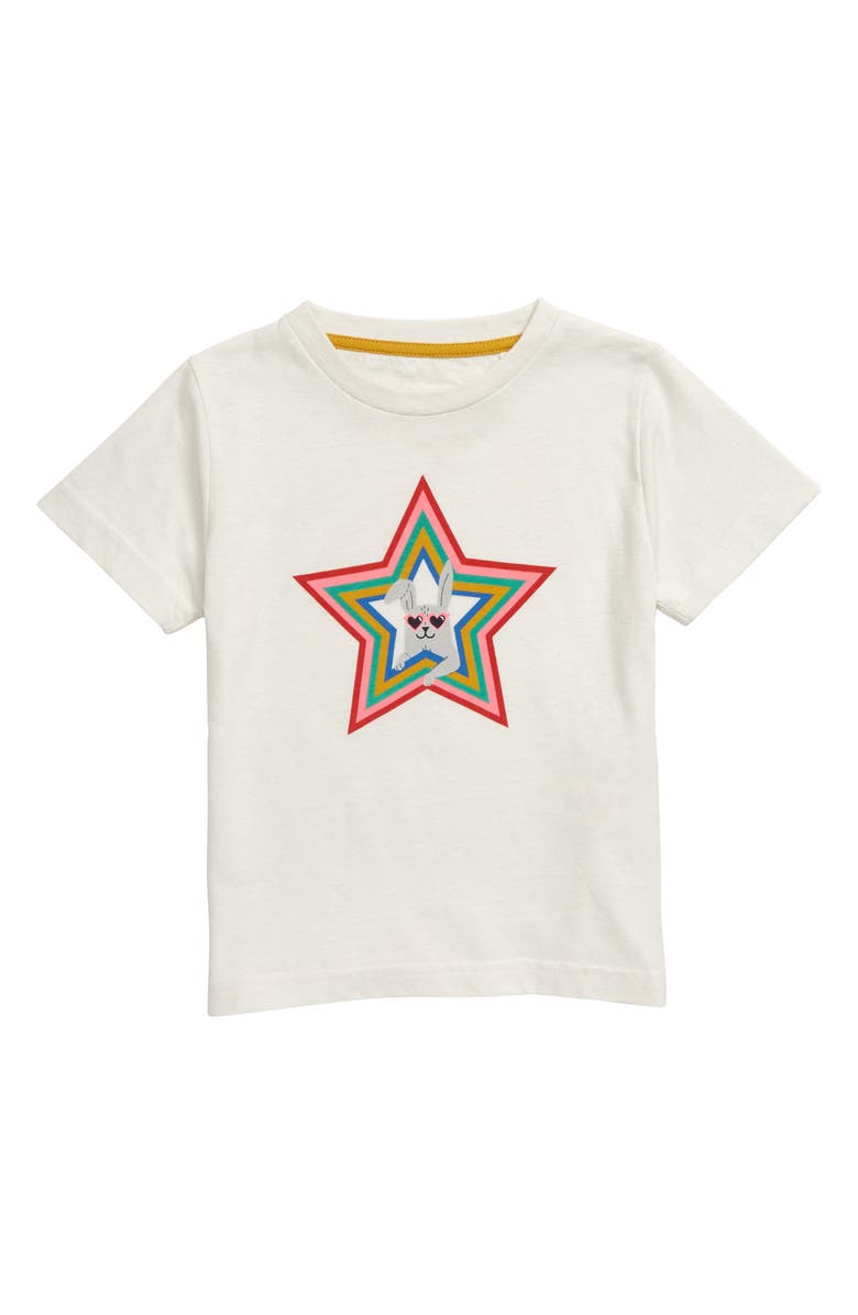 MINI BODEN Funky Pets Graphic Tee, Main, color, IVO IVORY RAINBOW BUNNY