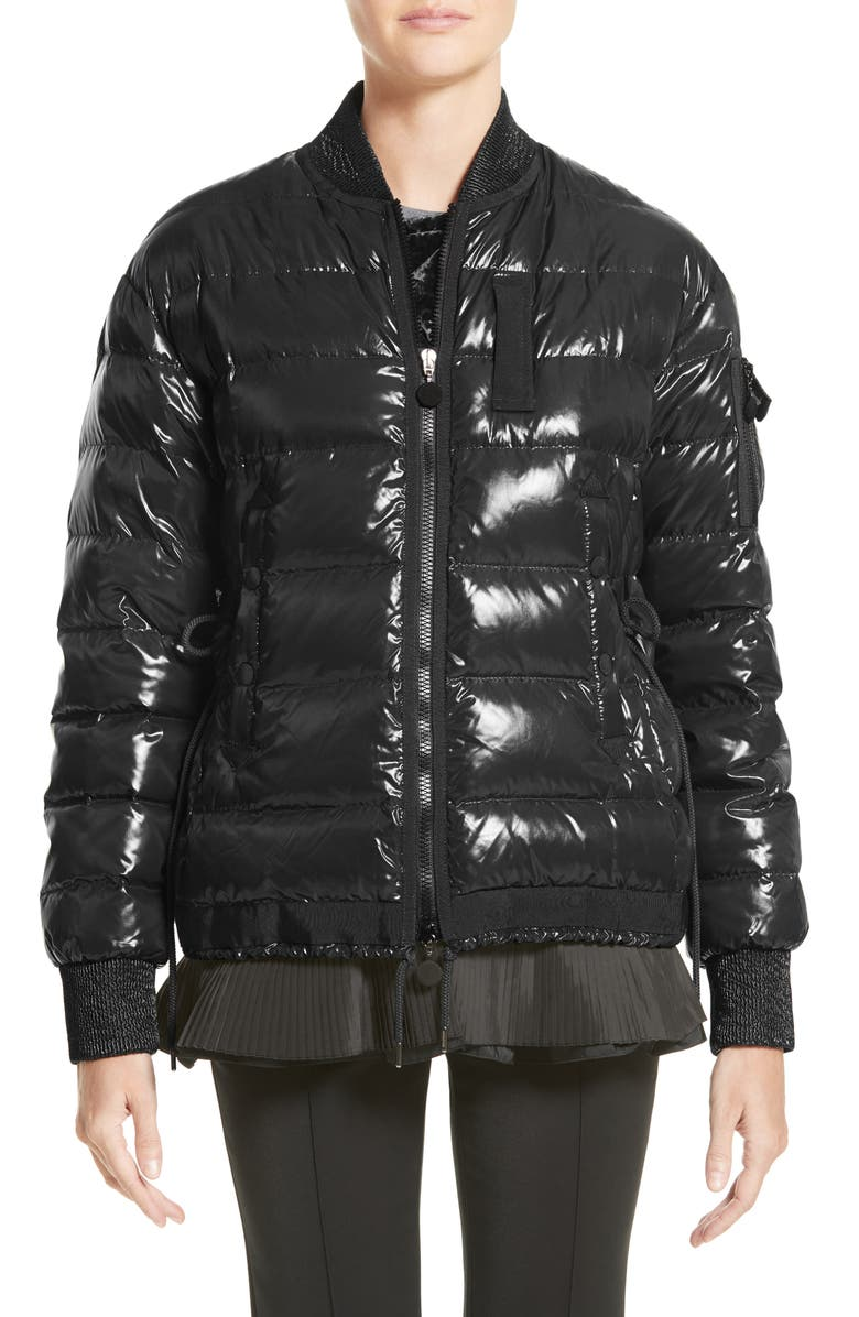 MONCLER Lucy Peplum Down Puffer Jacket, Main, color, 001