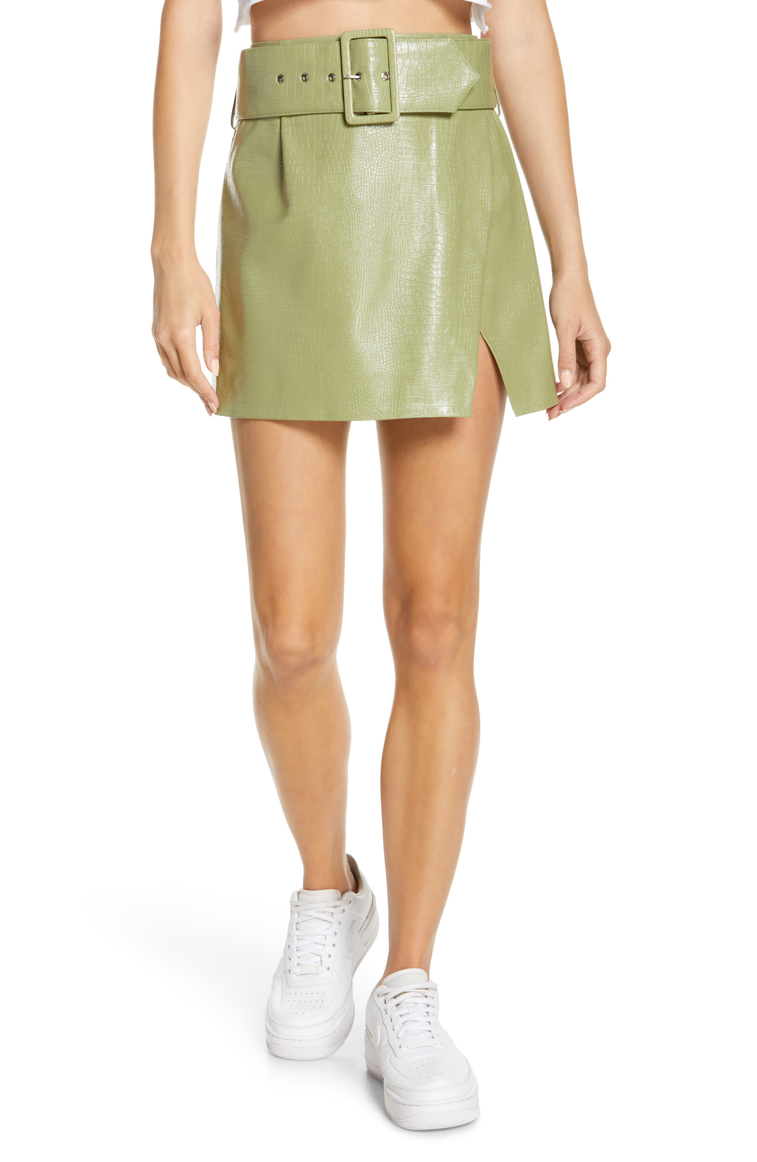 Women's By. Dylan Stevie Croc Embossed Faux Leather Miniskirt