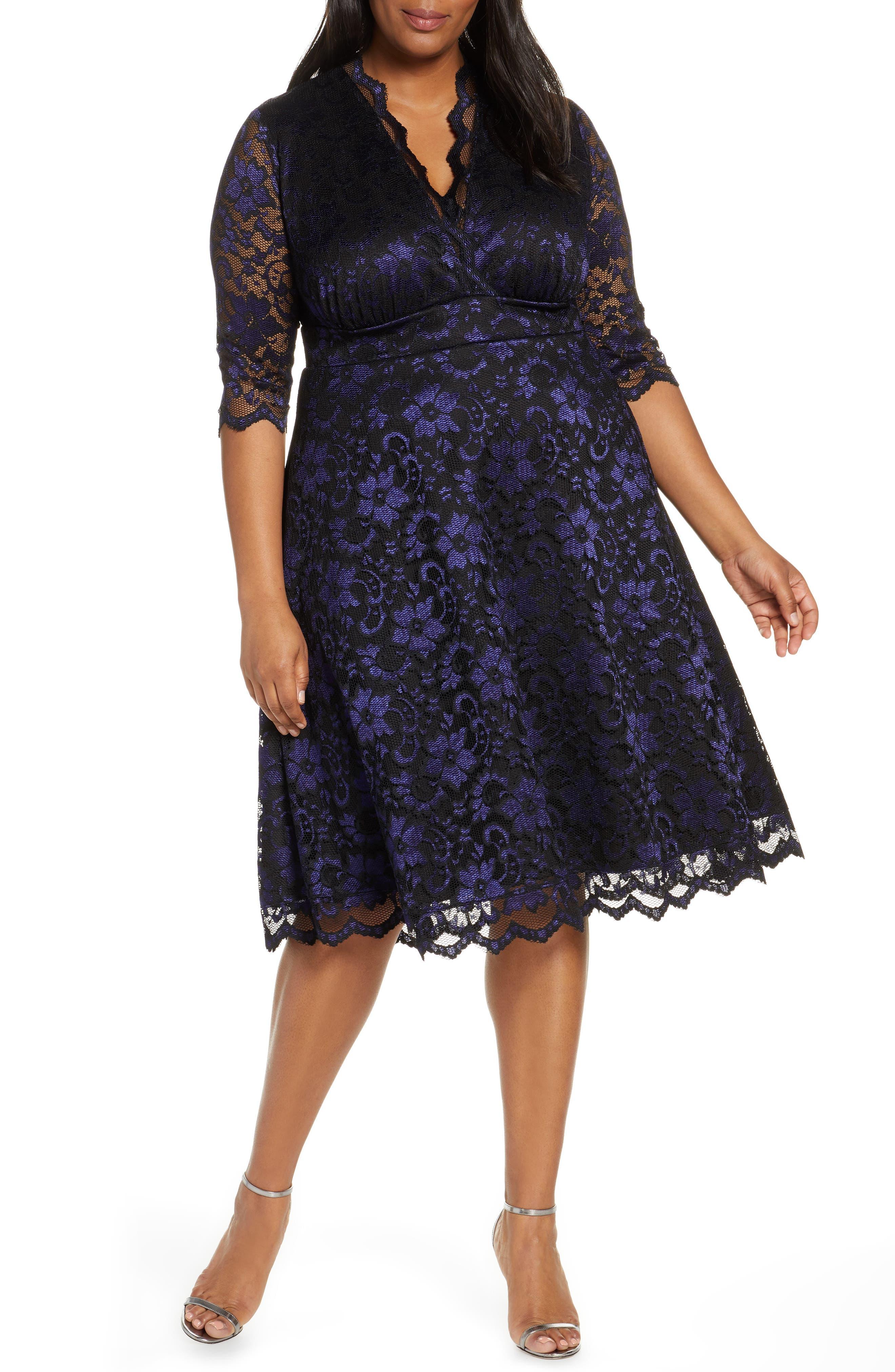 1950s Plus Size Dresses, Swing Dresses Plus Size Womens Kiyonna Mon Cheri Lace Cocktail Dress Size 5X - Blue $168.00 AT vintagedancer.com