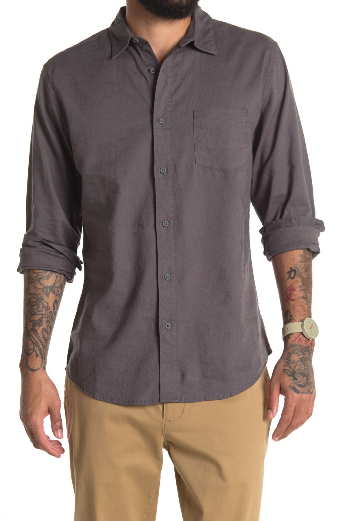 Image of Onia Abe Linen Blend Regular Fit Shirt