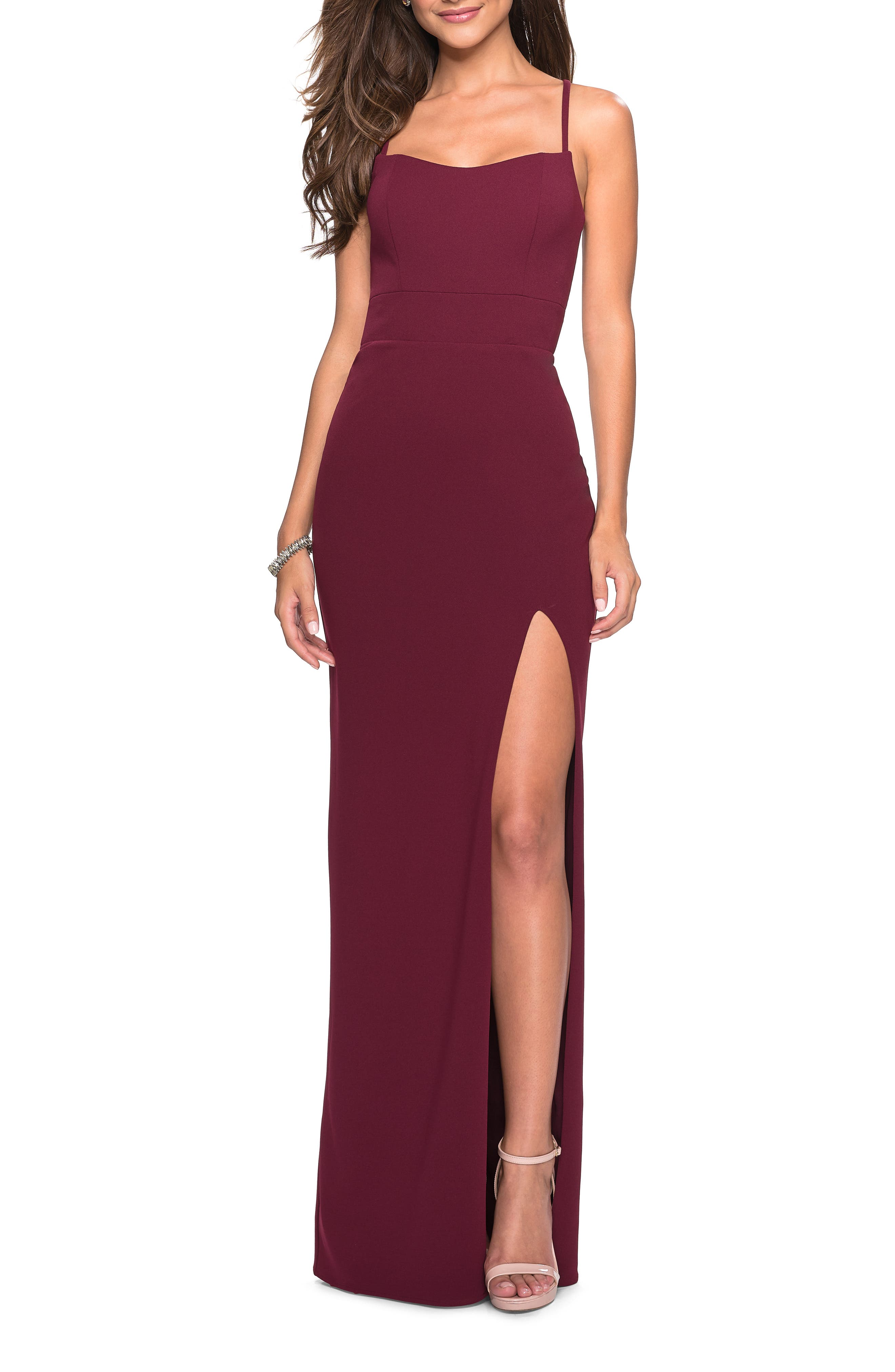 La Femme Sweetheart Neck Jersey Evening Dress, Burgundy