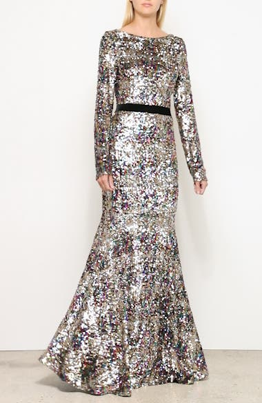 Patina Sequin Plaid Long Sleeve Gown, video thumbnail