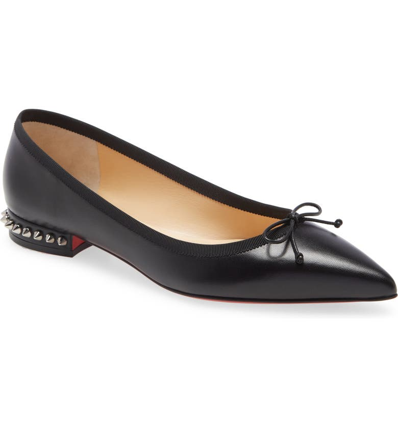 CHRISTIAN LOUBOUTIN Hall Studded Pointed Toe Bow Flat, Main, color, BLACK/ CRYSTAL