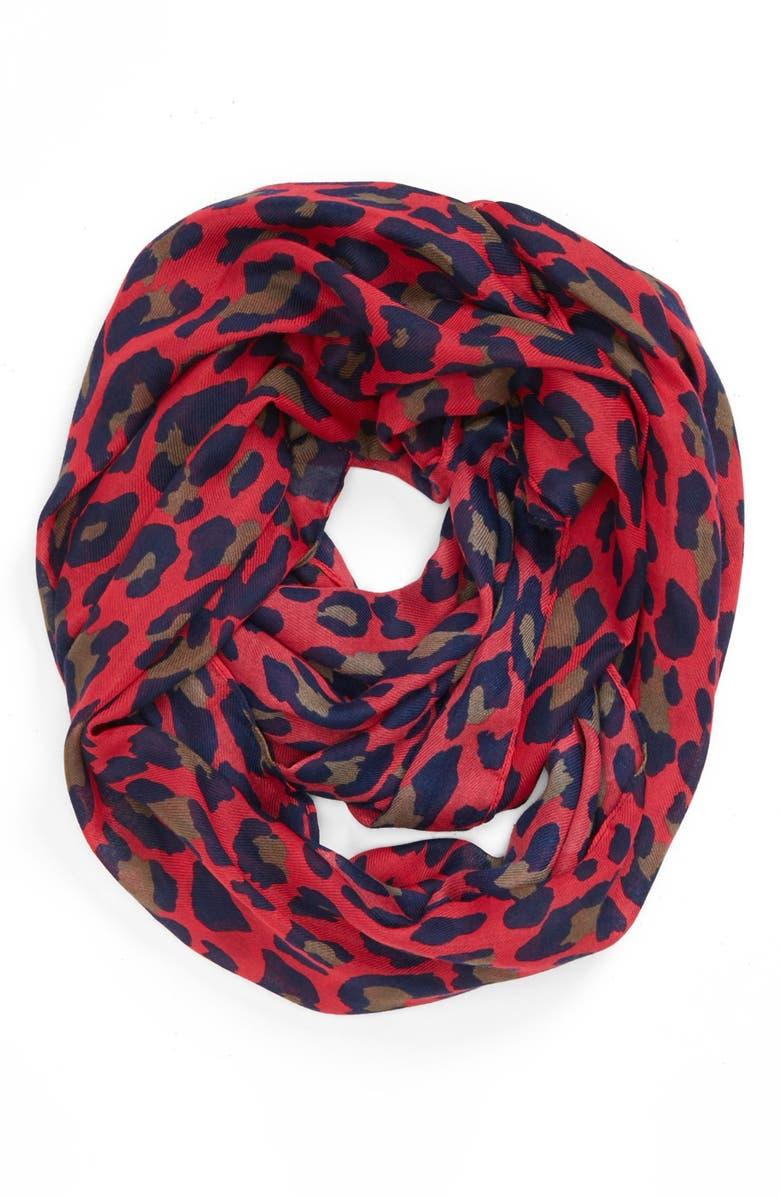 EVELYN K Cheetah Print Infinity Scarf, Main, color, 650