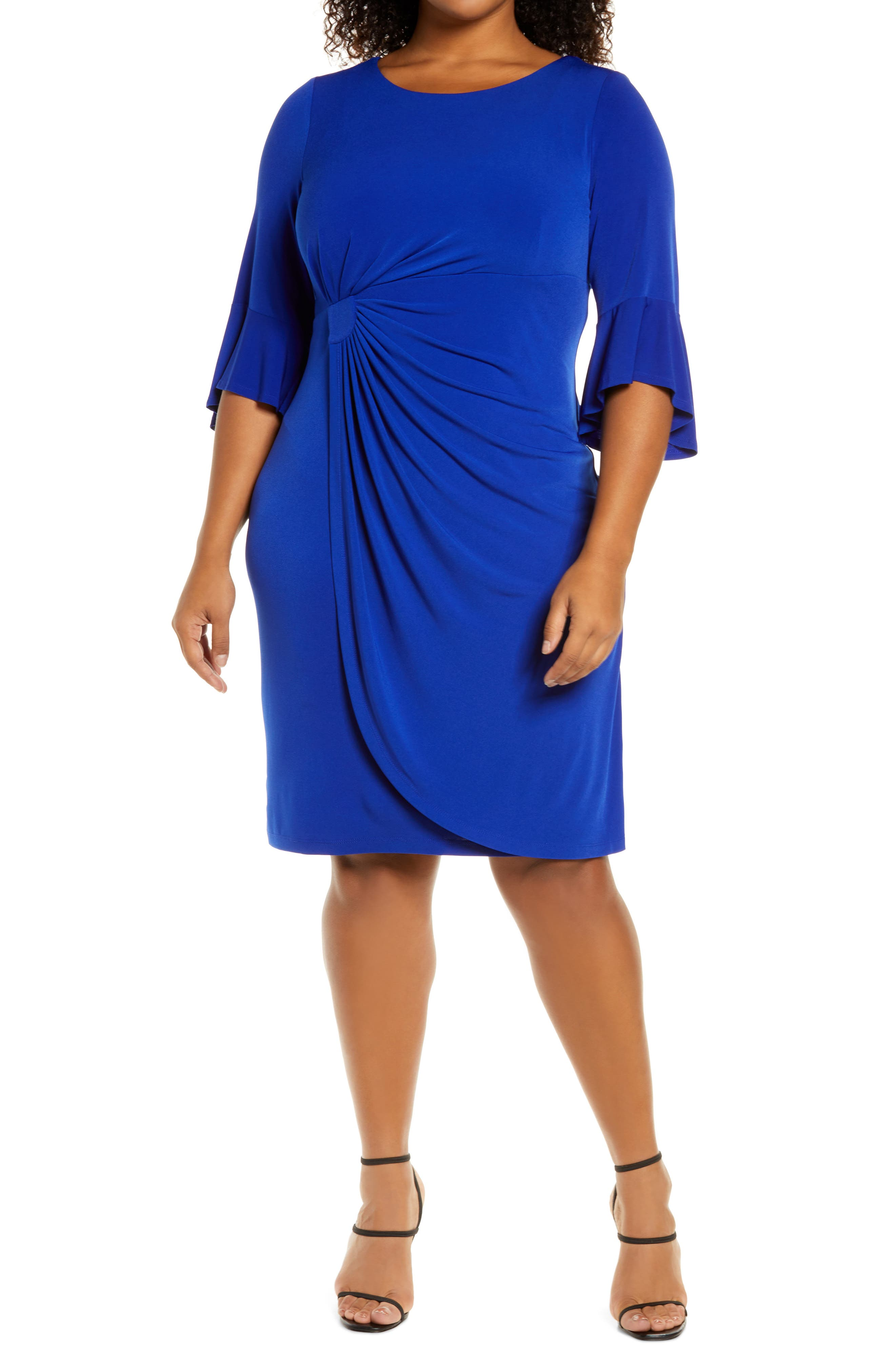 Gathered Bell Sleeve Faux Wrap Dress