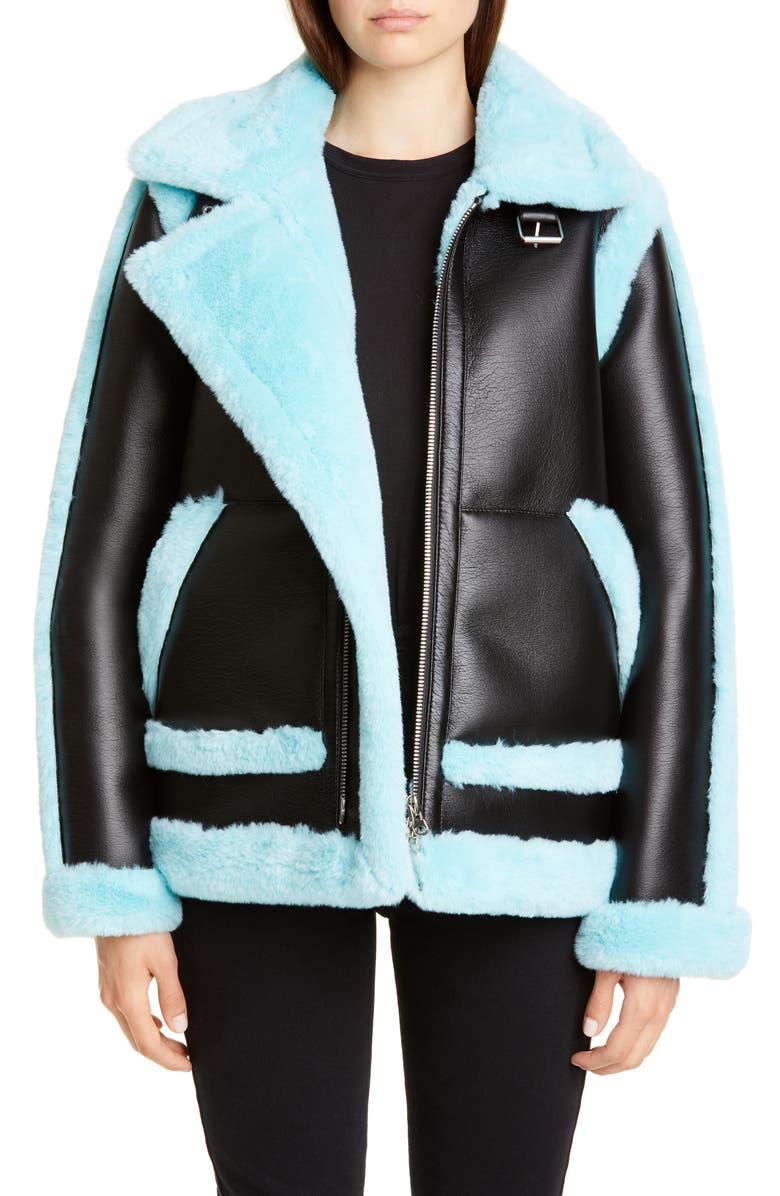 STAND STUDIO Lindsey Faux Shearling Aviator Jacket, Main, color, BLACK/ TURQUISE