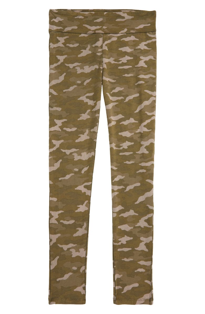 TREASURE & BOND Kids' High Waist Leggings, Main, color, OLIVE SARMA CAMO WASH