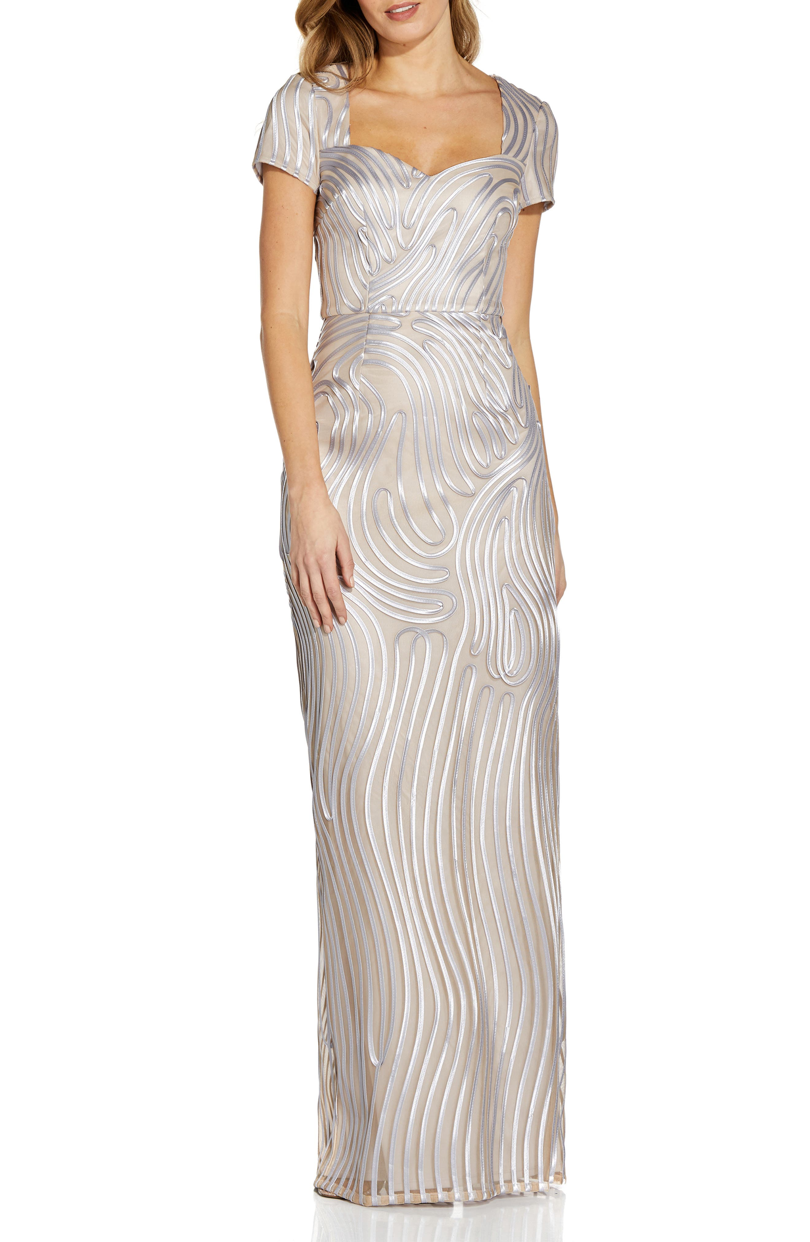 Ribbon Embroidery Column Gown
