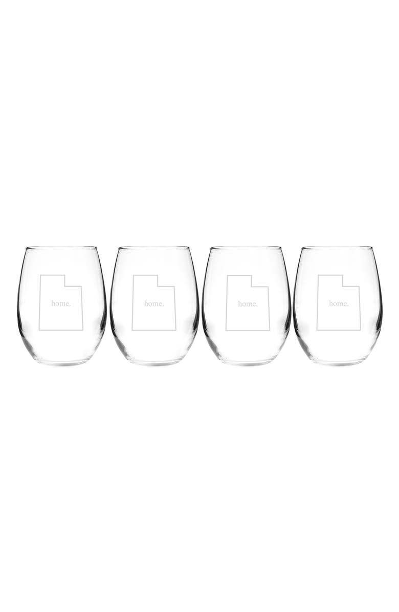 CATHY'S CONCEPTS Home State Set of 4 Stemless Wine Glasses, Main, color, 143