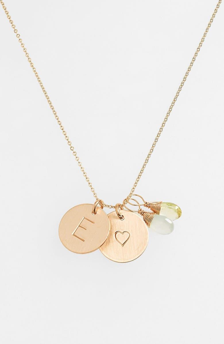 NASHELLE Aqua Chalcedony, Lemon Quartz, Initial & Heart 14k-Gold Fill Disc Necklace, Main, color, AQUA AND LEMON E