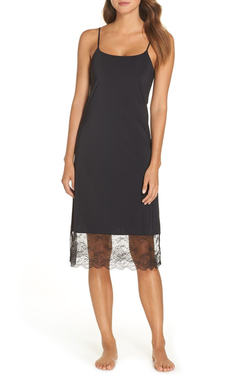 NATORI Infinity Lace Trim Slip, Main, color, BLACK
