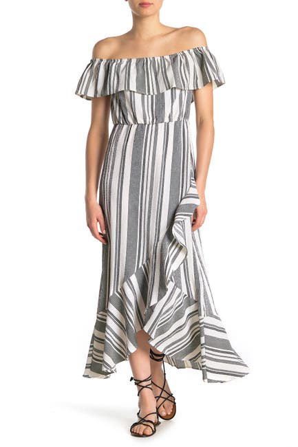 Image of BAILEY BLUE Striped Off-the-Shoulder Maxi Dress