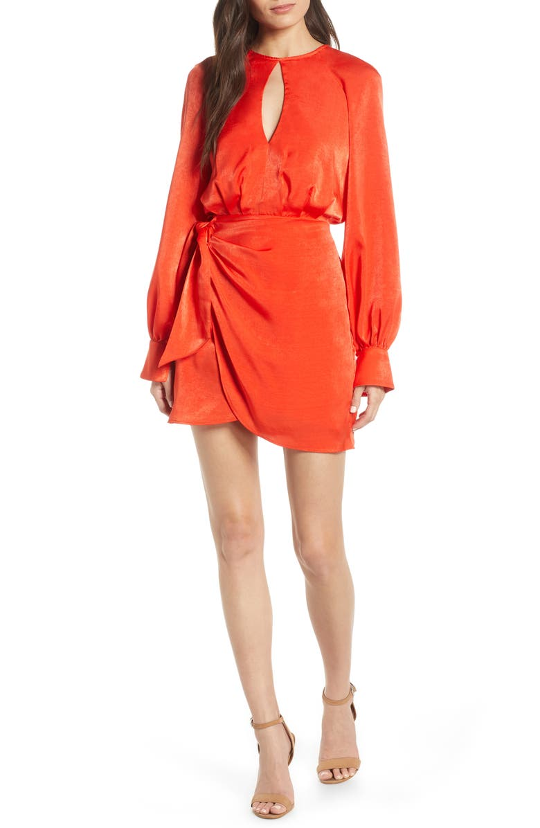 FINDERS KEEPERS Nightlife Long Sleeve Washed Satin Minidress, Main, color, 622