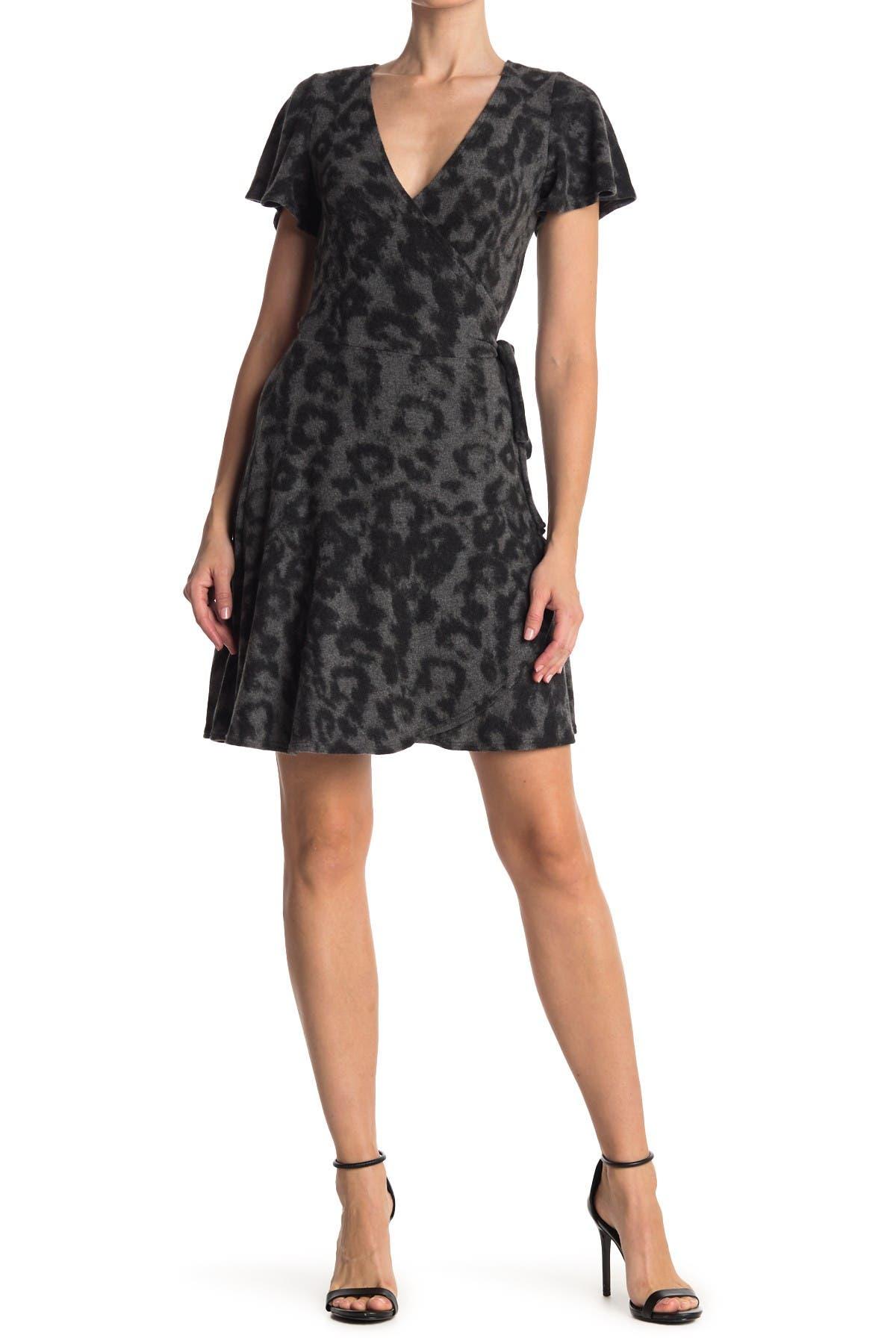 Image of Vanity Room Short Sleeve Faux Wrap Knit Dress