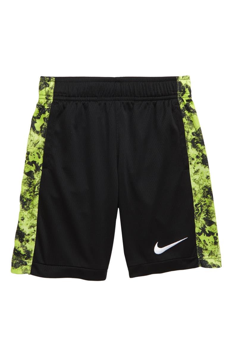 NIKE Dry Print Trophy Athletic Shorts, Main, color, BLACK/ VOLT